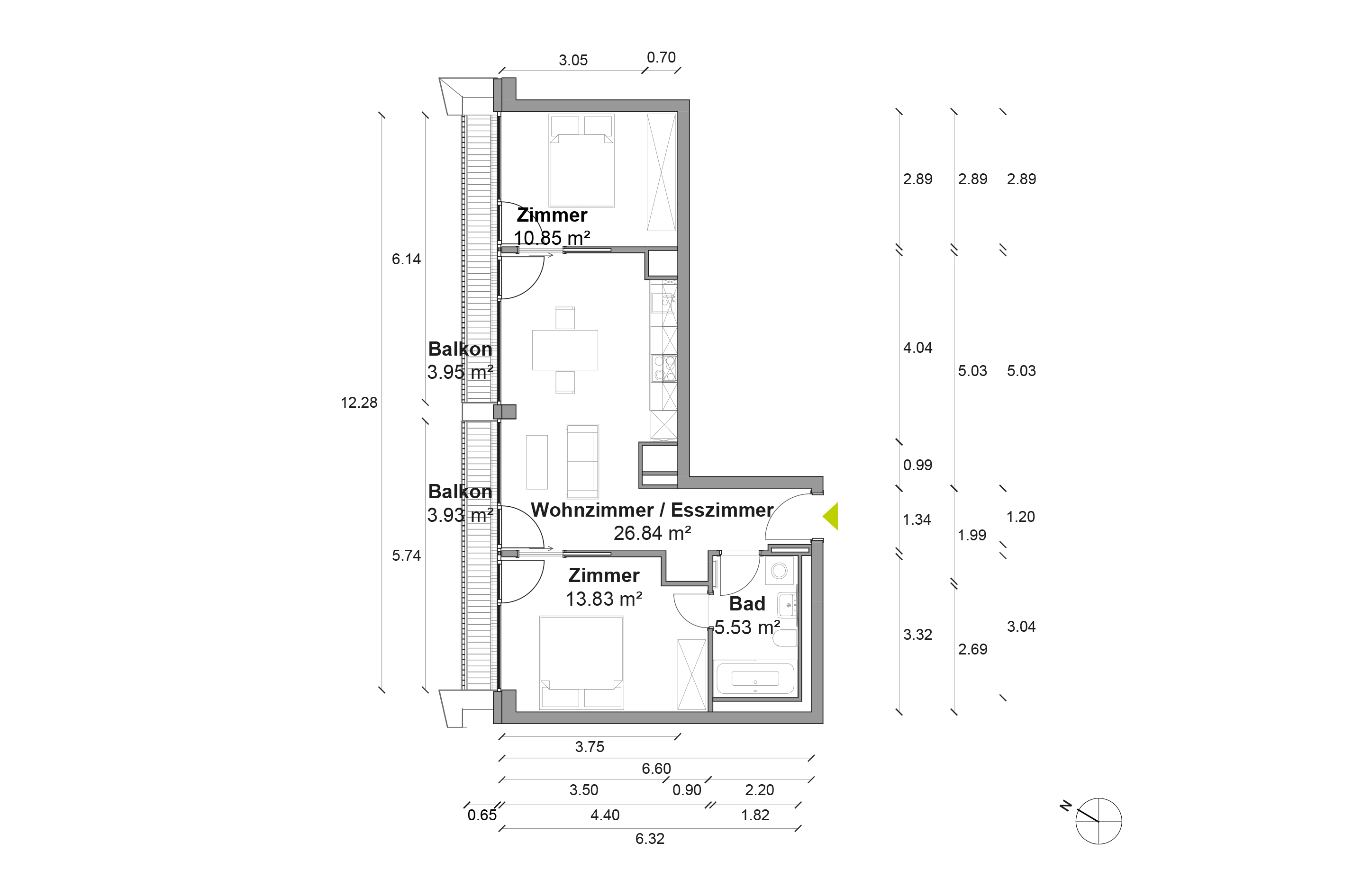 Grundriss Wohnung M
