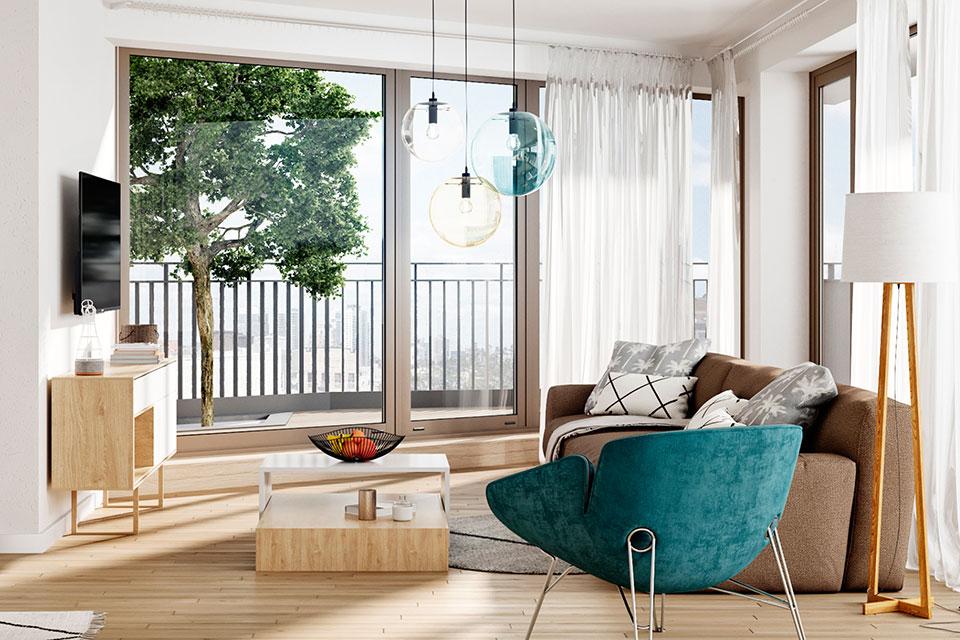 Wohnzimmer einer Wohung von Typ S