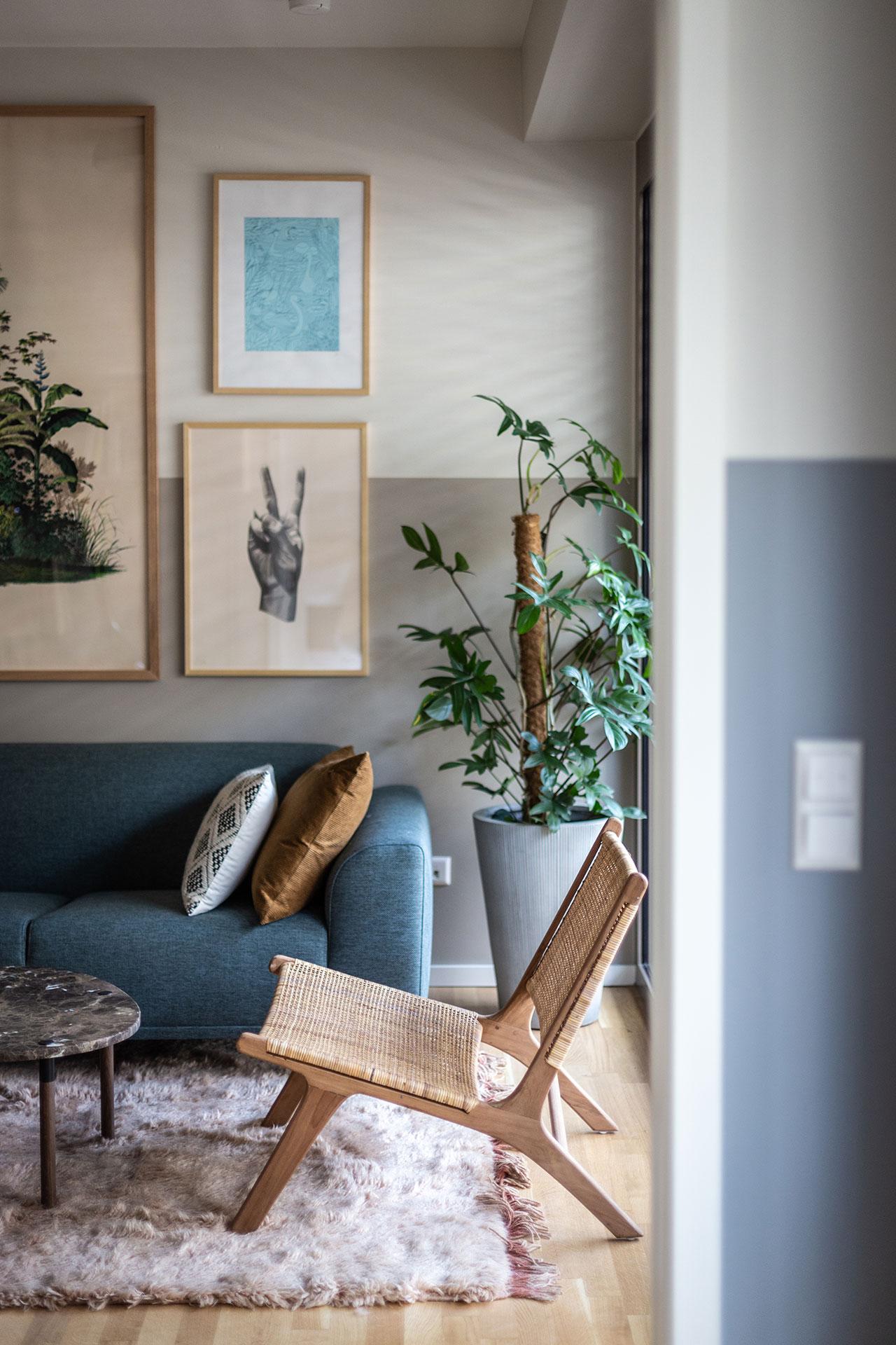 Stuhl, Couch und Pflanze